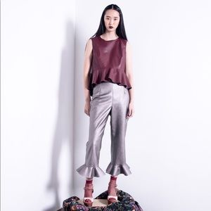 NLA DESIGNS METALLIC RUFFLED HEM PANTS
